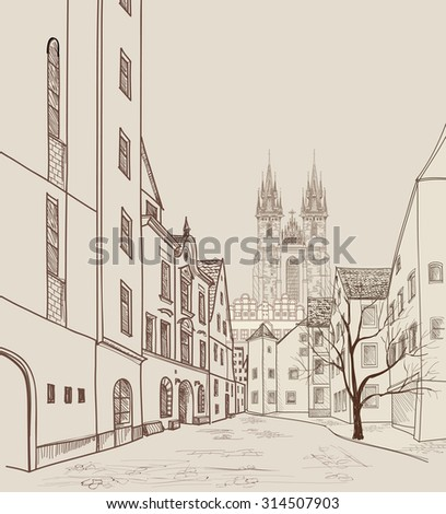 Old Town of Prague, Czech Republic. Pedestrian street in the old european city with tower in the background. Historic city street. Travel Prague background. - stock vector