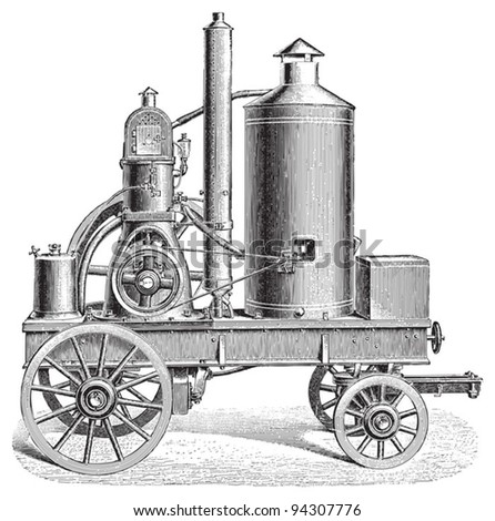 Old traction engine / vintage illustration from Meyers Konversations-Lexikon 1897 - stock vector