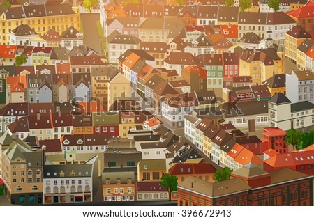 Old traditional Europe city background - stock vector