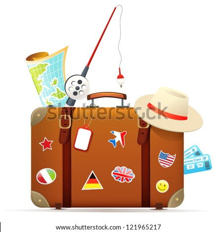 Old travel suitcase with traveling accessories - stock vector