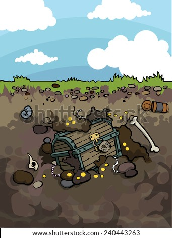 Old treasure chest buried under ground, vector illustration - stock vector