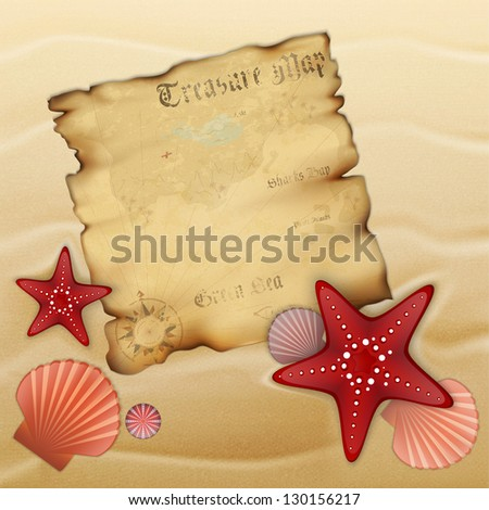Old treasure map on sand with starfishes, shells and urchin. Illustration contains gradient mesh - stock vector