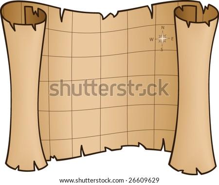 Old Treasure Map - vector illustration - stock vector