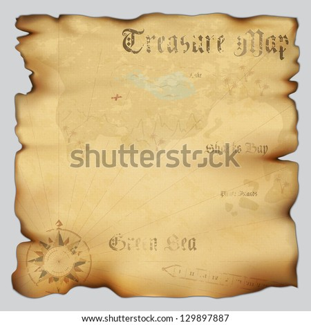 Old treasure map with wind rose compass. Highly detailed vector. Illustration contains gradient mesh - stock vector