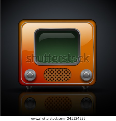 old tube tv with dark reflection - stock vector