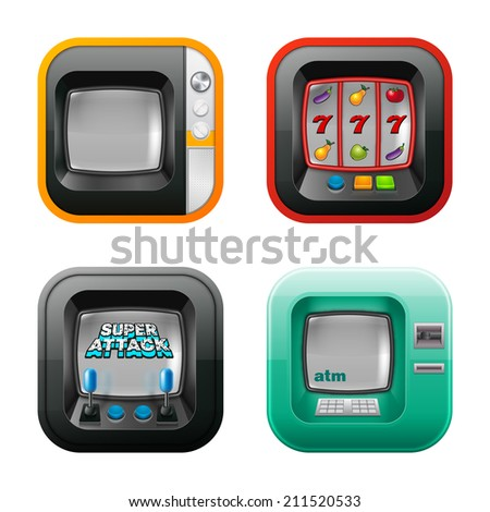 Old tv, game machine, atm, and slot machine icons. Eps10. - stock vector