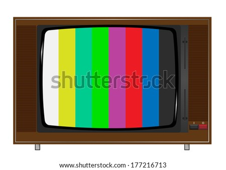 old tv playing color bars. Vector. - stock vector