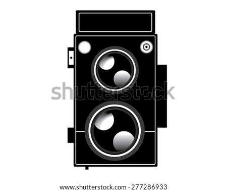 Old twin lens reflect camera - stock vector