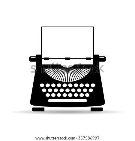 Old typewriter icon illustration isolated on white background - stock vector