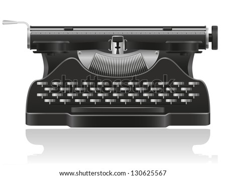 old typewriter vector illustration isolated on white background - stock vector