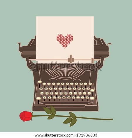 Old typewriter with heart shape in the sheet - stock vector