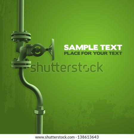 Old valve, industry illustration on green - stock vector