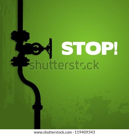 Old valve, silhouette on green, illustration - stock vector