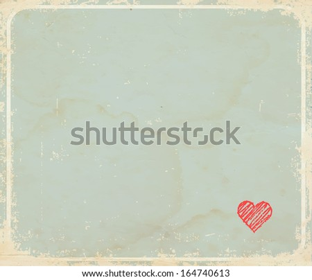 Old vintage background  with little heart and place for your text - stock vector
