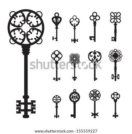 Old Vintage Keys, Silhouettes Set, Vector icon - stock vector
