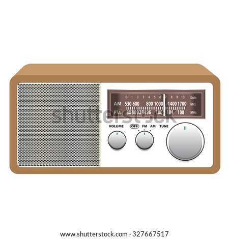 old vintage radio receiver on white background vector illustrations  - stock vector