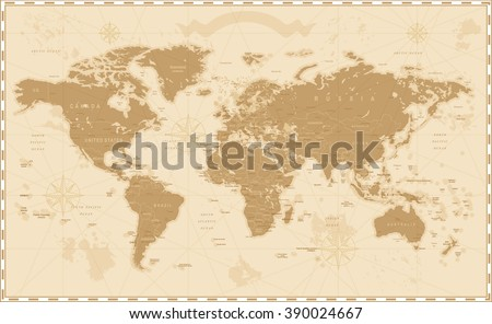 Old Vintage Retro World Map    - stock vector