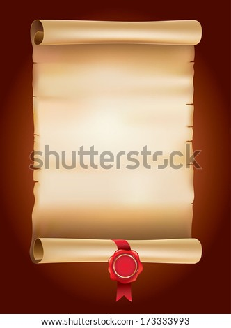 Old vintage scroll with wax seal - stock vector