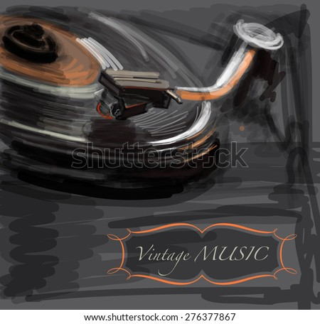 Old vintage turntable - vector drawing / eps10 - stock vector