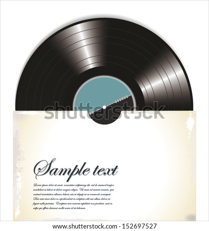 Old vinyl record in a paper case, vector illustration - stock vector