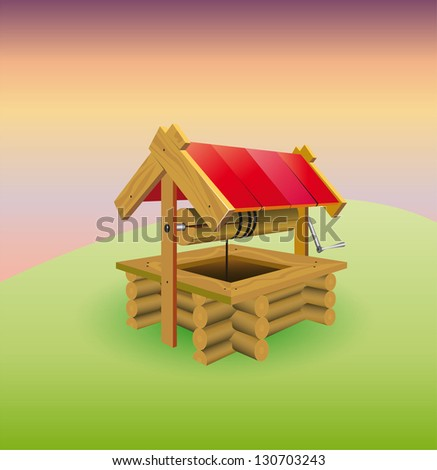 old well in the village - stock vector