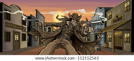 Old West Gunslinger: Town Version Vector illustration of an old west gunslinger shooting two revolvers in front an old west town with general store, saloon, feed store, hotel, gun shop, etc. - stock vector