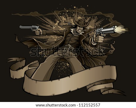 Old West Gunslinger Vector illustration of an old west cowboy gunslinger smoking a cigar during a gun fight. Gunman shoots two revolvers behind a blank banner as explosions go off in the background. - stock vector