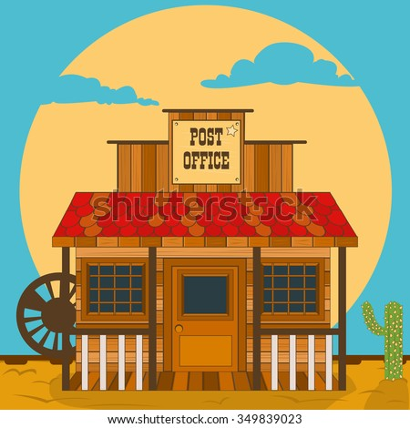 old western building - post office - stock vector