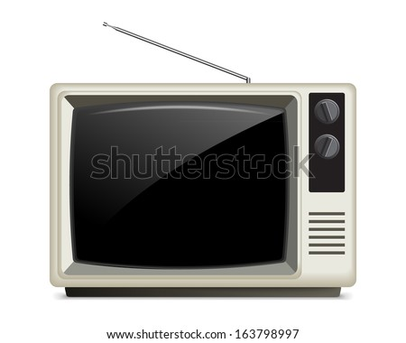 Old White Retro Style TV, Isolated on White/Retro TV  - stock vector