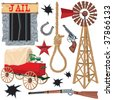 Old wild west icons, isolated on white - stock vector