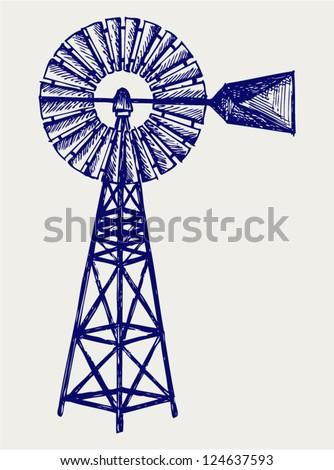 Old windmill. Doodle style - stock vector