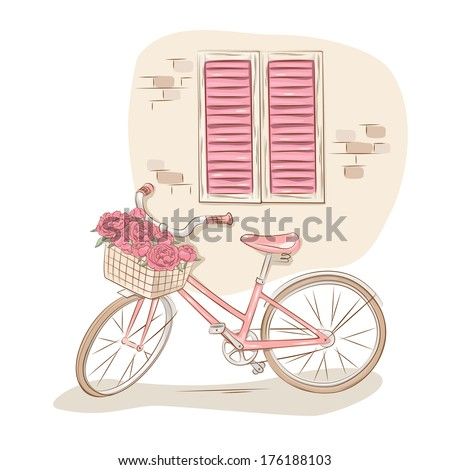 Old windows and bicycle with a basket of flowers . Vector illustration - stock vector