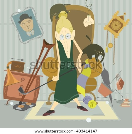 Old woman plays golf. Old woman plays golf at home and puts into disorder her room   - stock vector