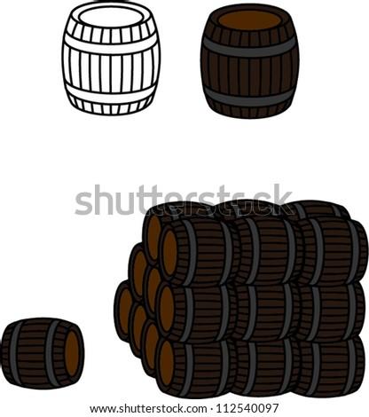 Old wooden barrels - stock vector