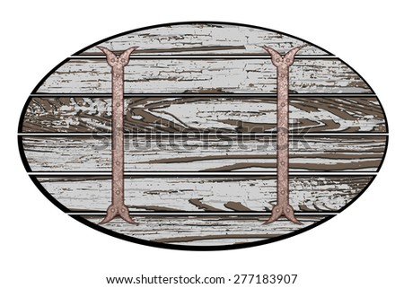 Old wooden board with rusty chain. Vector illustration - stock vector