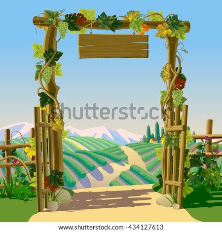 Old wooden farm gate with signboard, grapes and Mediterranean landscape with vineyards. Wine-making concept frame and background. Wine label design. Vector illustration - stock vector