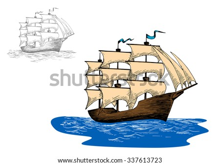 Old wooden sailing ship with full sails in calm blue ocean, for marine or adventure design - stock vector