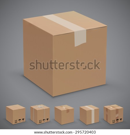 Old, worn and new sealed cardboard boxes. Vector illustration set - stock vector
