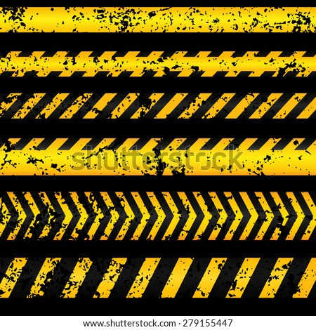 Old worn grungy yellow with black police line and danger tapes on dark background. Vector illustration. - stock vector