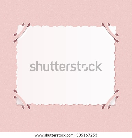 Older realistic photographs with rough edges inserted into corners square formats on pink album page. - stock vector