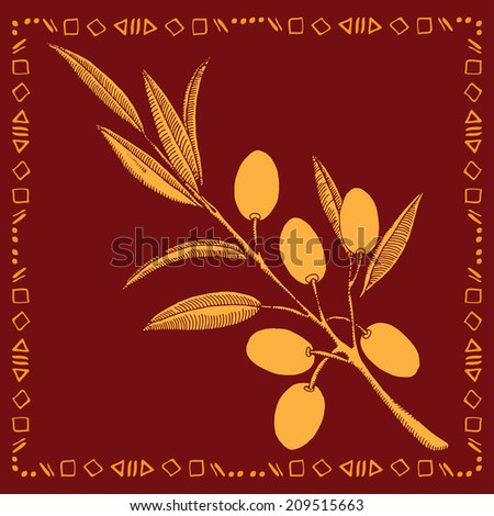 olive branch gold label - stock vector