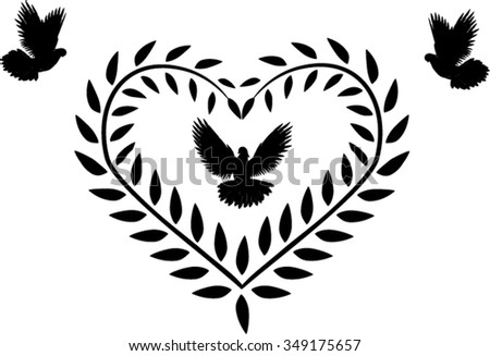 olive brunch shape heart with peace doves - stock vector