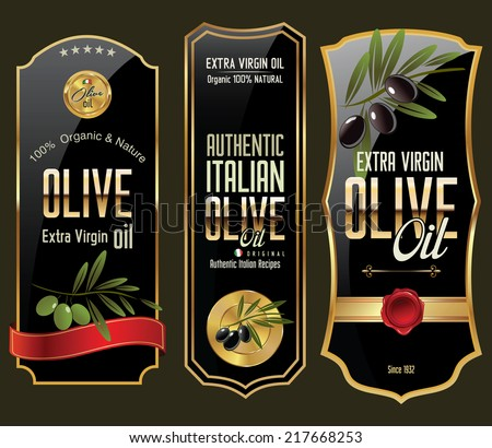 Olive gold and black banner collection - stock vector