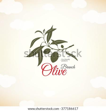 Olive label, logo design. Olive branch - stock vector