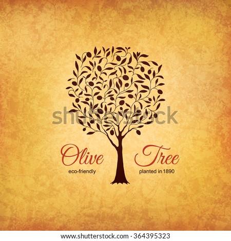 Olive label, logo design. Olive tree - stock vector