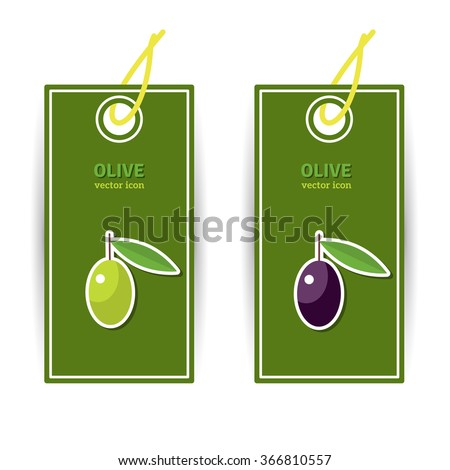 Olive oil banners. Flat icons on green cards. Olive oil logo. Black and green olives concept. Typographic template for your text. Perfect for product labelling. Vector illustration for modern design.  - stock vector