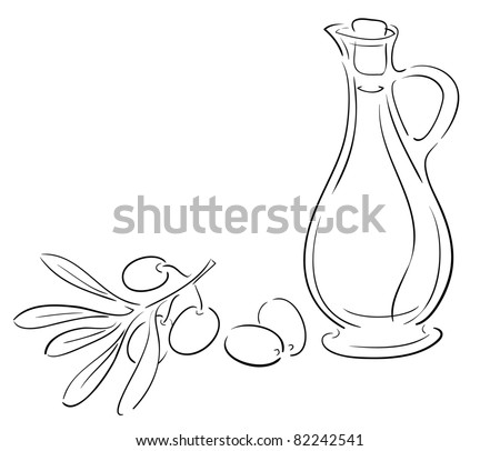 Oil Jar Coloring Page Olive Bottle And