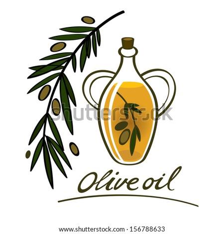Olive oil food ingredient natural branch bottle - stock vector