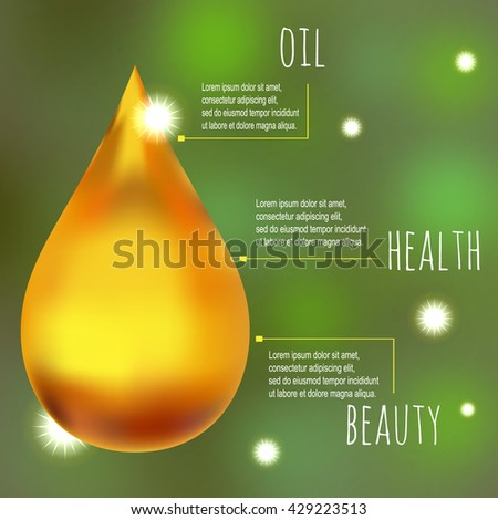 Olive oil healthy concept. Beauty oil vector background. Realistic golden oil drop. Vector gold drop on, Oil treatment concept. Natural lubricant, Golden drop on green. Gold liquid vector. - stock vector