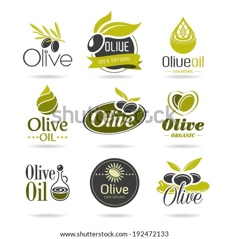 Olive oil icon set - stock vector